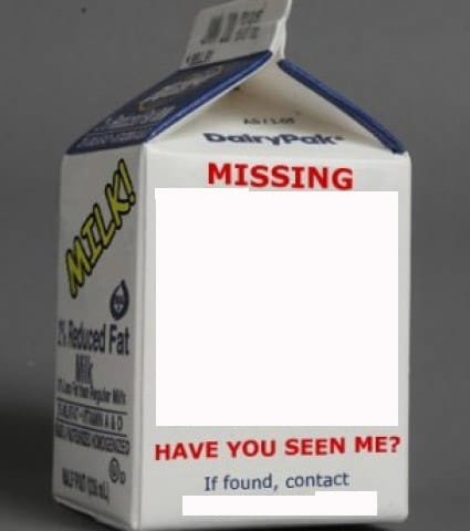 Milk carton missing template