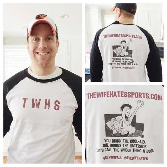 KP modeling the TWHS baseball shirt design (I won't quit my day job)