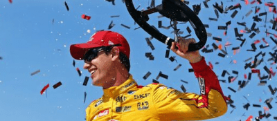 Joey Logano Celebrates Michigan Victory