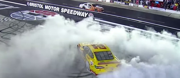 Joey Logano with the burnout at Bristol