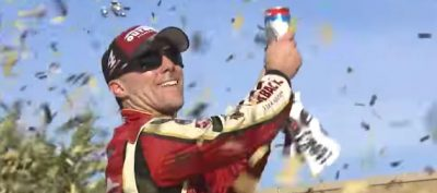 Kevin Harvick Celebrates Kansas